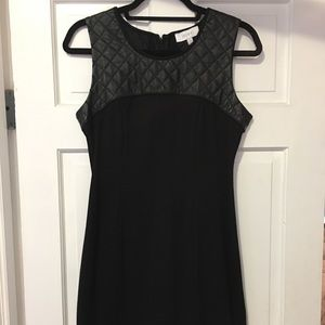 Black JAYEE faux leather work dress